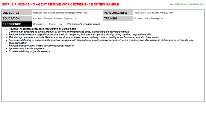 Purchasing Agent Job Resumes Examples