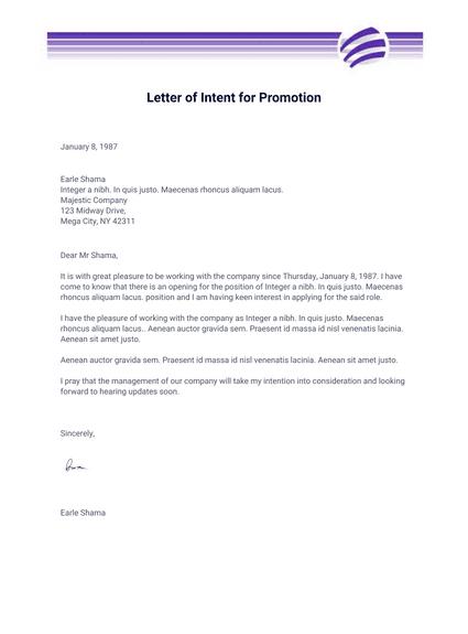 Letter Of Intent For Promotion Pdf Templates Jotform