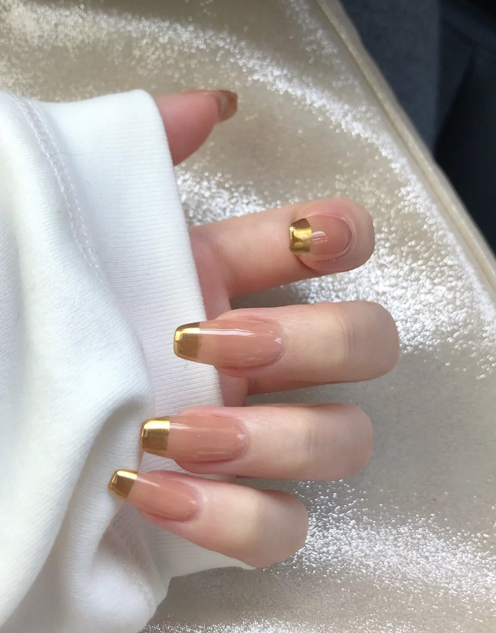 Nude Golden French Manicure 2