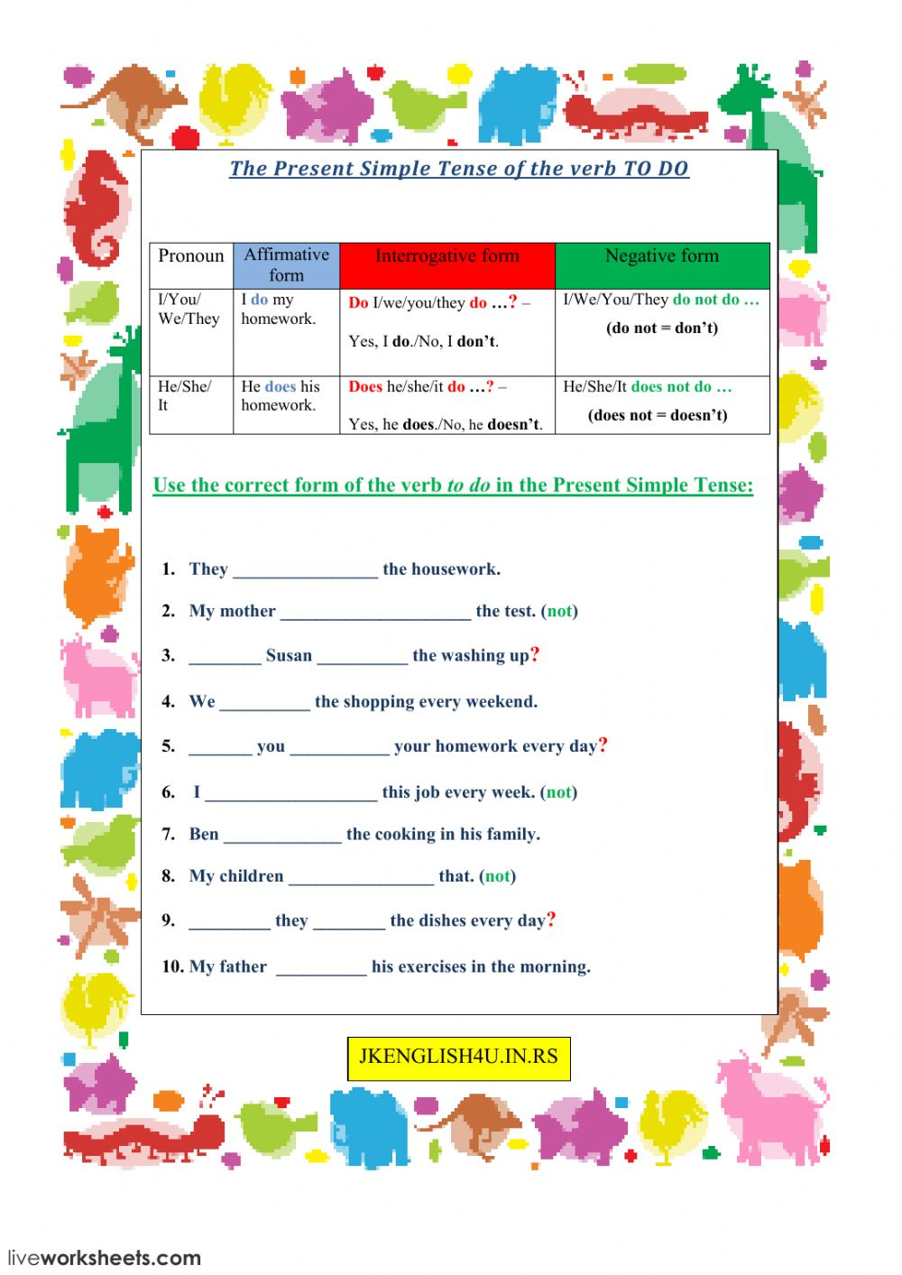 The Present Simple Tense Of The Verb To Do