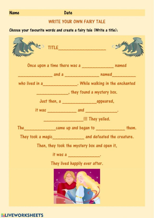Make your own fairy tale. worksheet