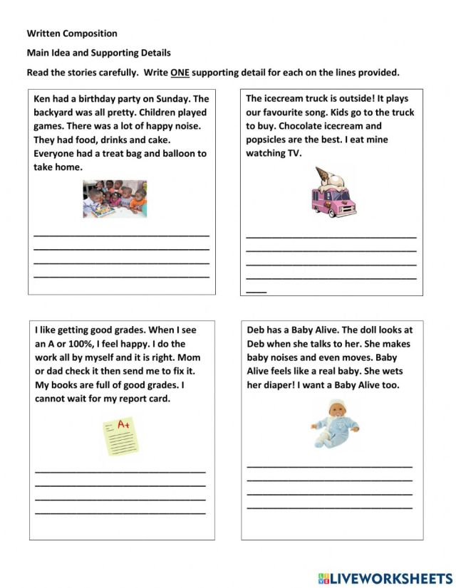 Topic Sentence and Supporting Details activity