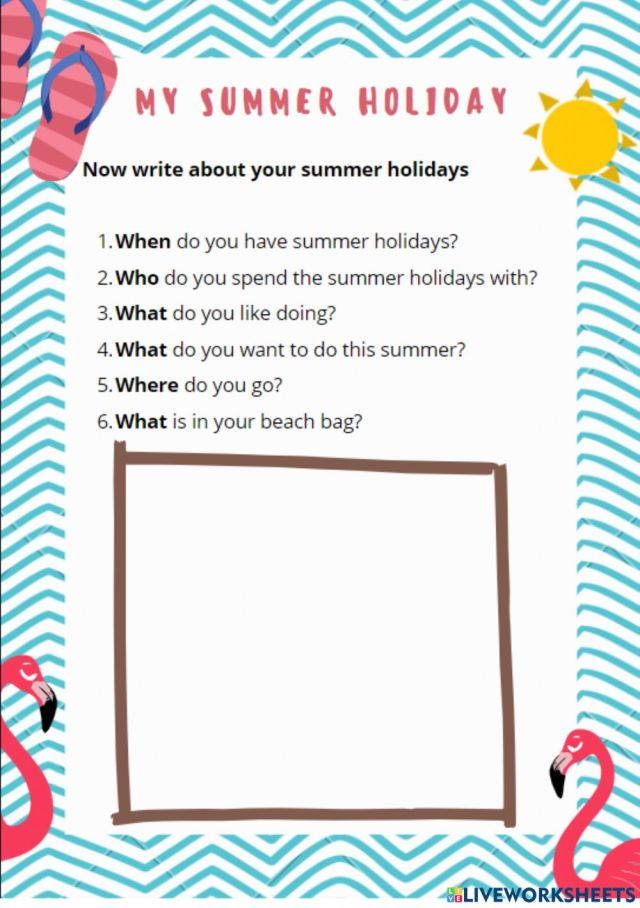 Summer Holiday worksheet for A16
