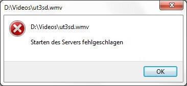 WMP _ Starten des Servers fehlgeschlagen