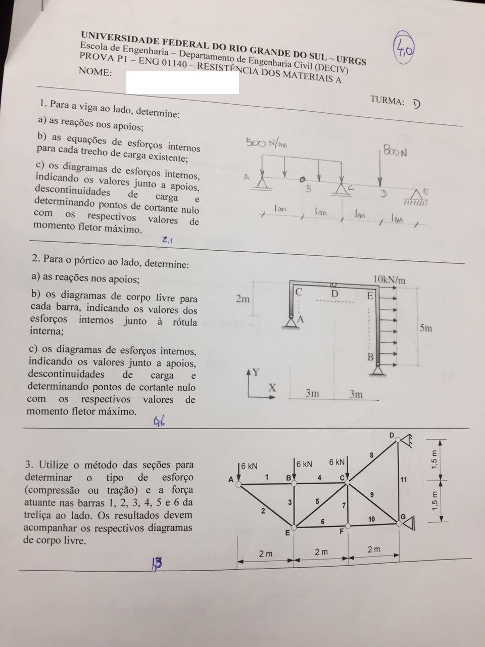 Prova 1 Alexandre Braun 20171 Resistncia Dos Materiais