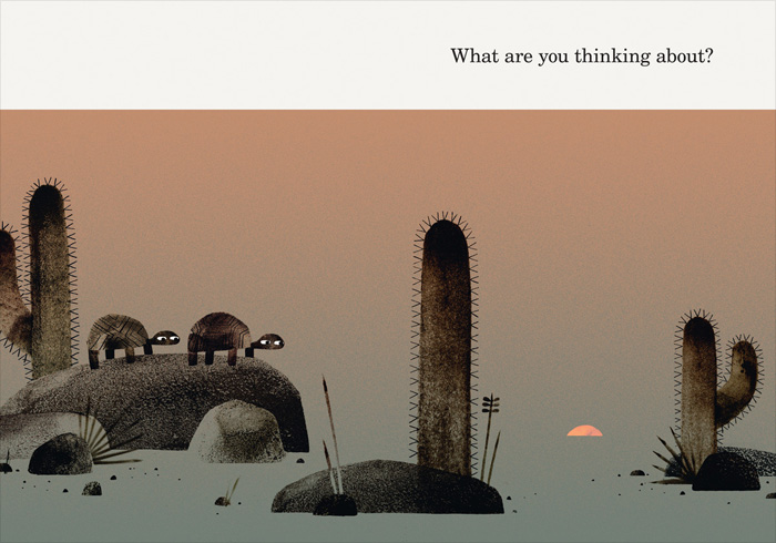 Spread from 'We Found A Hat' by Jon Klassen – published by Candlewick Press, United States