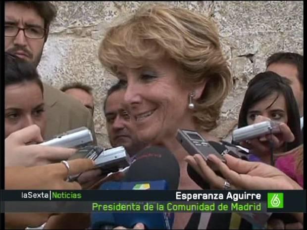 La Presi, Esperanza Aguirre, en una rueda de prensa