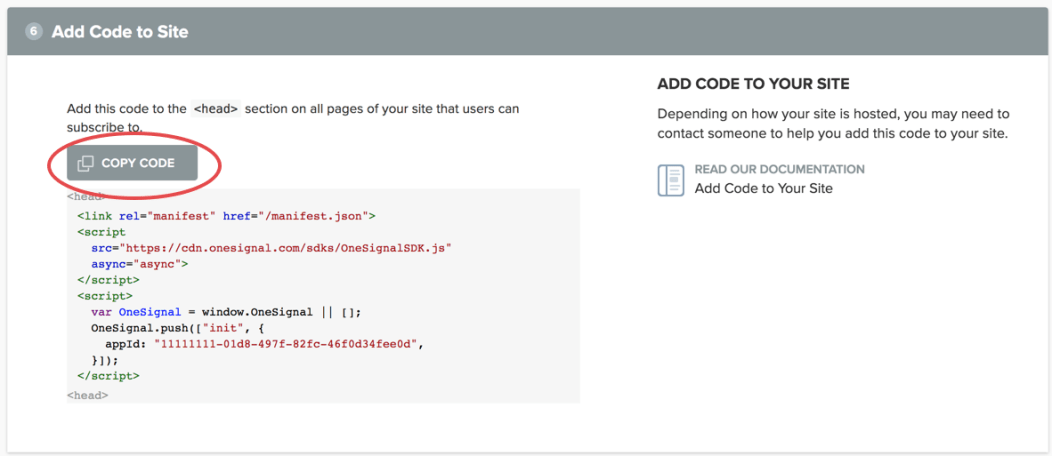 pantalla para copiar el código de OneSignal en Blogger