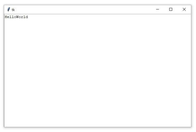 """Une fenêtre Tkinter contenant un widget Zone de texte avec le texte """"HelloWorld"""""""