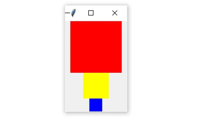 A Tkinter window with three colored squares packed vertically