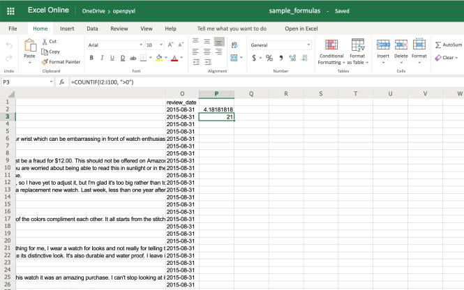 Exemple de feuille de calcul avec formule moyenne et nombre de formules