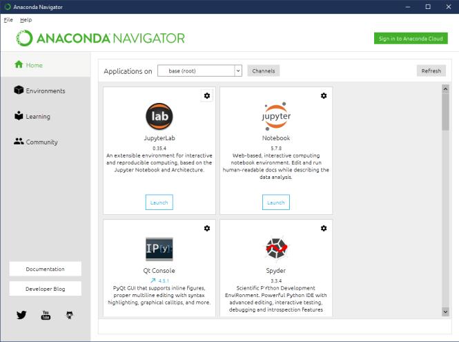 Fenêtre principale d'Anaconda Navigator montrant les applications installées