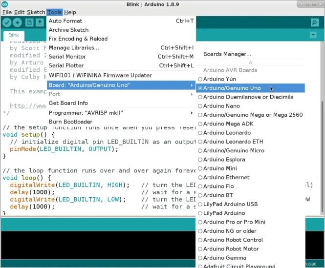 Tableau de sélection sur Arduino IDE