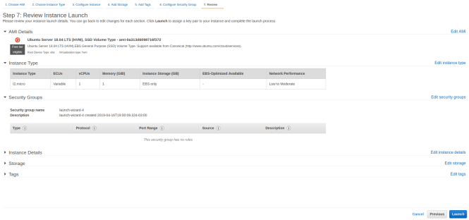 Review and launch EC2 instance