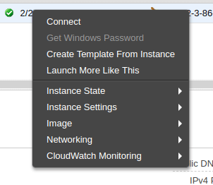 Context menu for EC2 instance