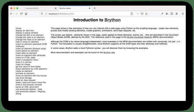Démo Brython