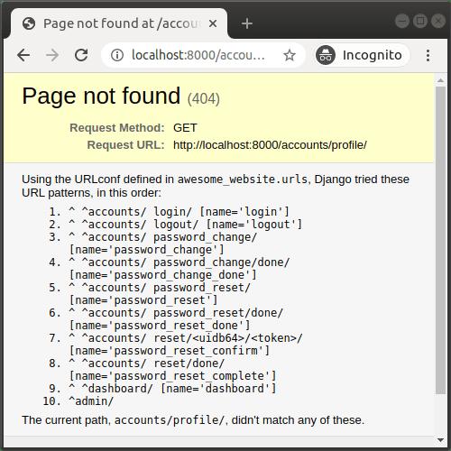 URL de profil utilisateur manquante dans Django
