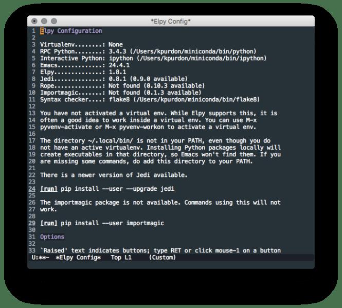 Configuration d'Emacs Elpy