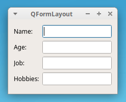 Exemple PyQt QFormLayout