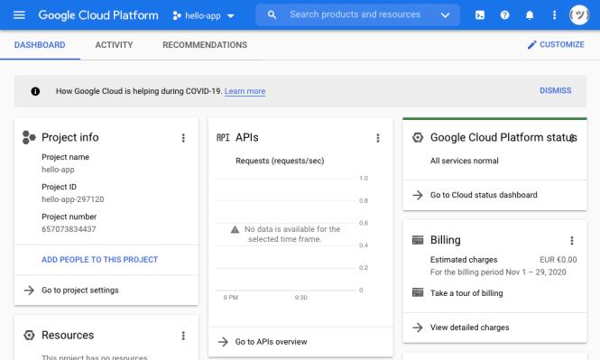 Vue du tableau de bord de Google Cloud Platform