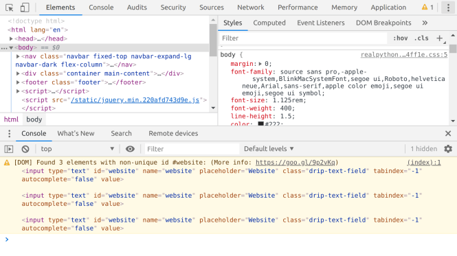 Outils de développement Web dans Google Chrome
