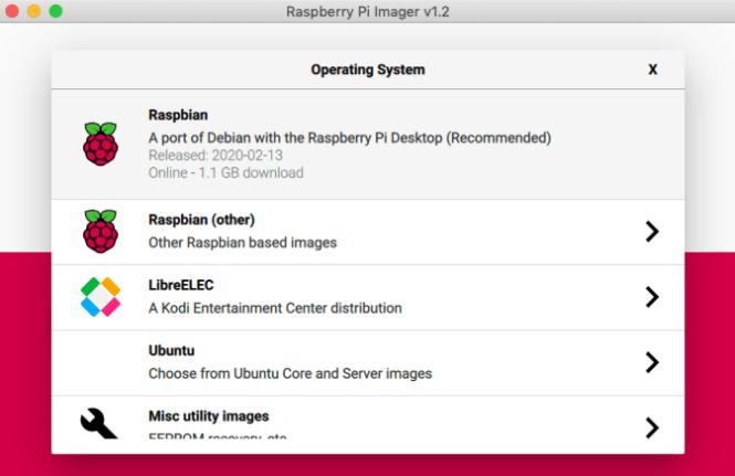 Imageur Raspberry Pi Choisissez OS