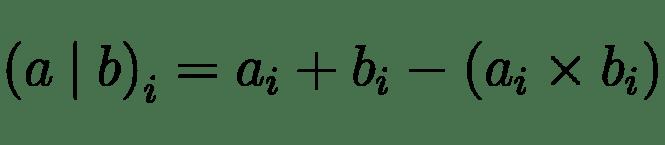 La formule arithmétique de l'opérateur OR au niveau du bit