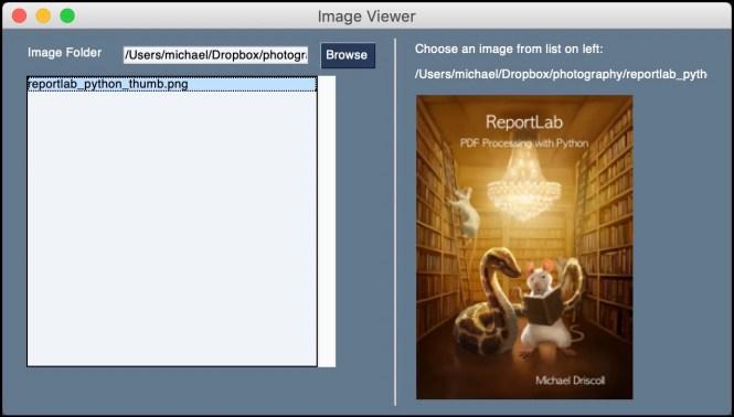 Visionneuse d'images PySimpleGUI