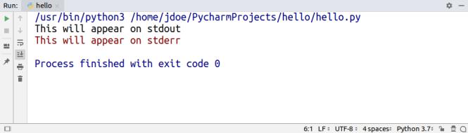 La sortie d'un programme exécuté dans PyCharm