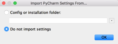 Fenêtre PyCharm Import Settings