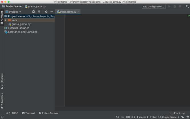 PyCharm Nouveau Fichier