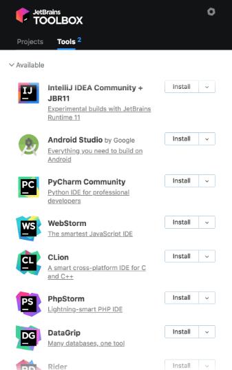 PyCharm installé avec l'application Toolbox