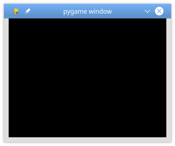 Une fenêtre pygame vide, mais persistante