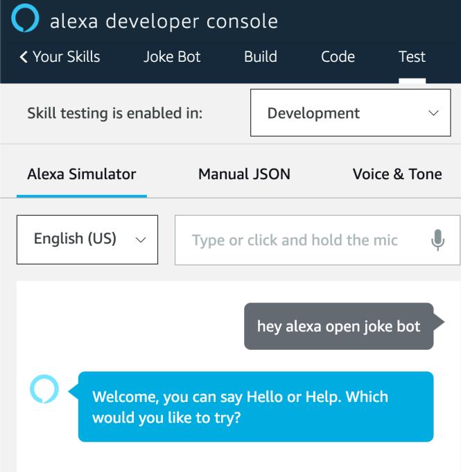 Test d'Alexa Simulator