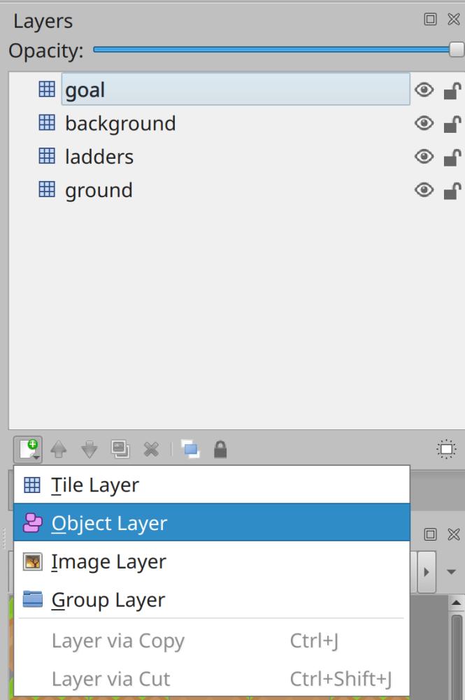 Création d'une nouvelle couche de carte d'objets dans Tiled
