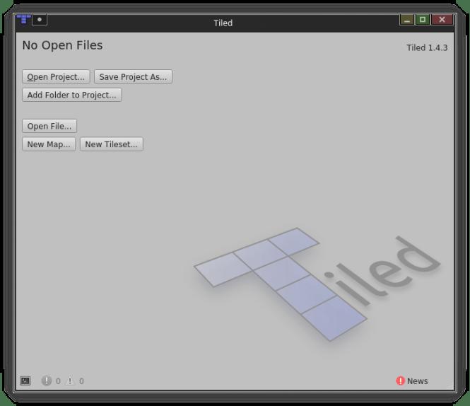 Tiled, l'éditeur de plateforme, au premier démarrage
