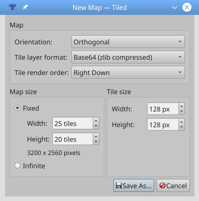 Créer une nouvelle carte de tuiles dans Tiled