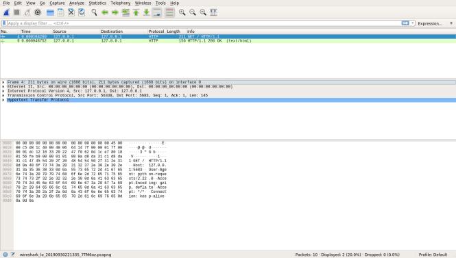 La première requête HTTP dans Wireshark