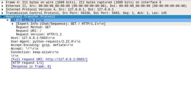 Requête HTTP avec des détails étendus dans Wireshark