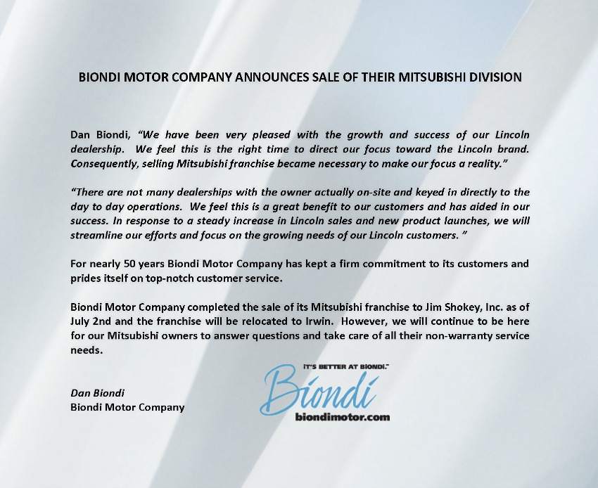 Biondi Motor Company Announces the sale of theirMitsubishi Division.jpg