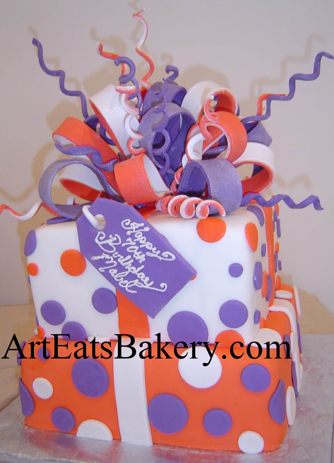 Surprising Two Tier Square Clemson Orange Purple And White Present Design Funny Birthday Cards Online Eattedamsfinfo