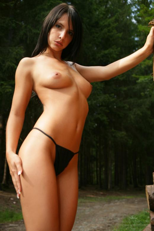 Monika Vesela, brunette, topless, thong, strip, outdoors, forest