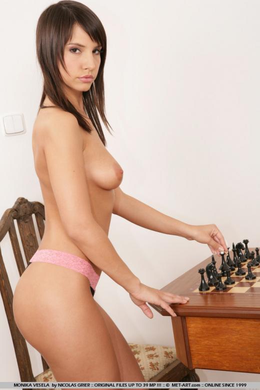 Monika Vesela, brunette, strip, chess, hat, chair