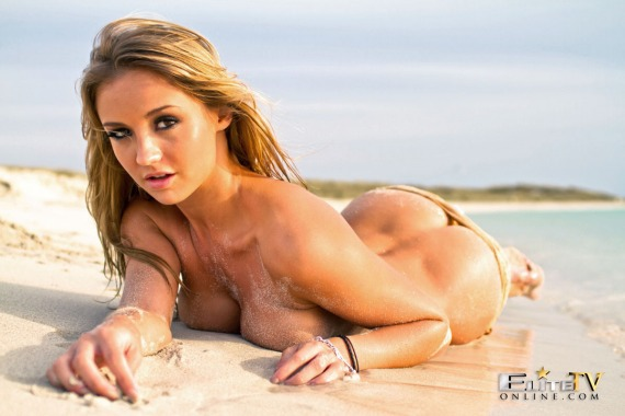 Dionne Daniels, blonde, topless, busty, beach, sand