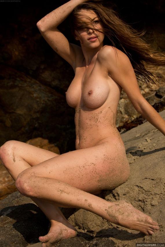 Amber Sym, brunette, strip, nude, busty, beach, bikini