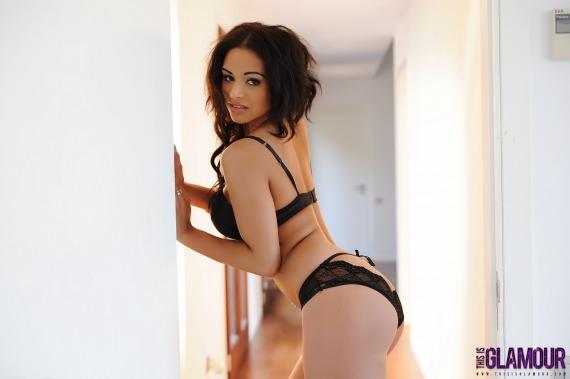 Ella Wilkinson, ebony, strip, topless, lingerie, panties
