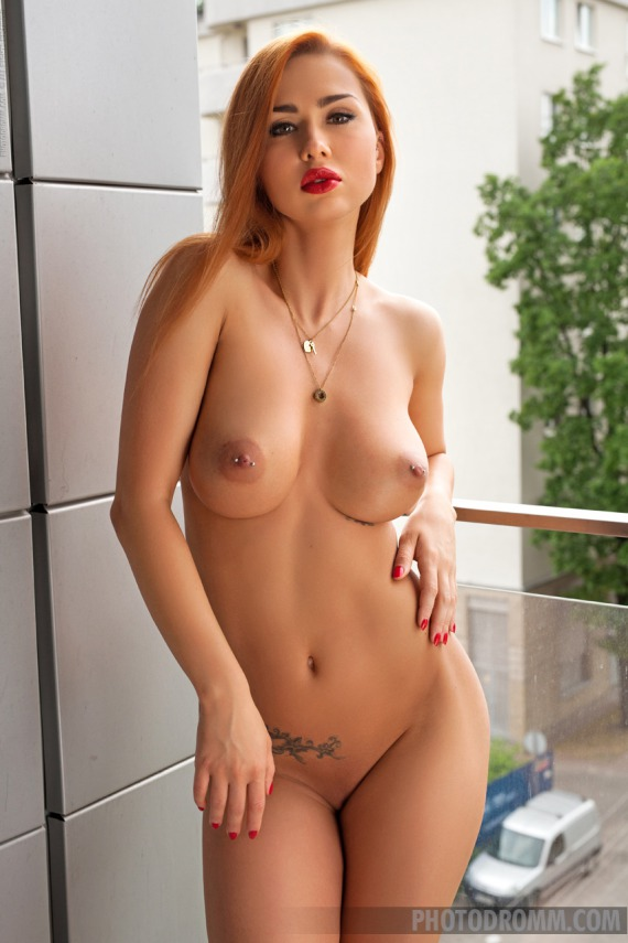 Justyna Fire, redhead, busty, nude, strip, balcony