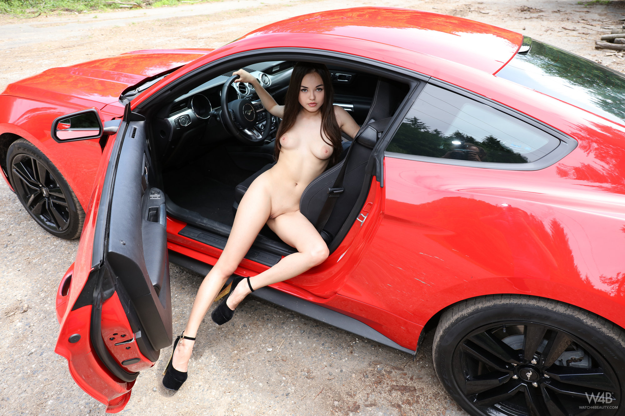 Li Moon, brunette, naked, shaved, sports car, photoshoot, pose
