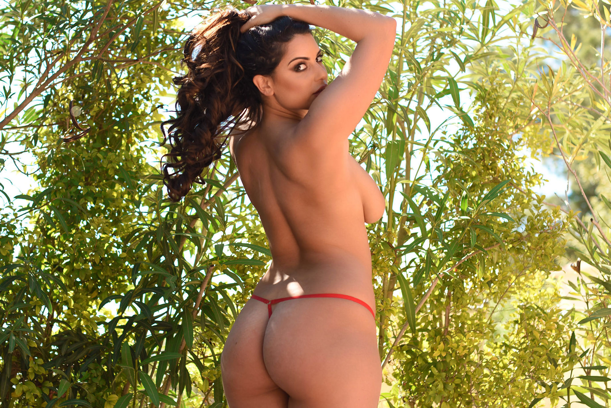 Charley S, brunette, topless, ass, strip, g string, outdoors