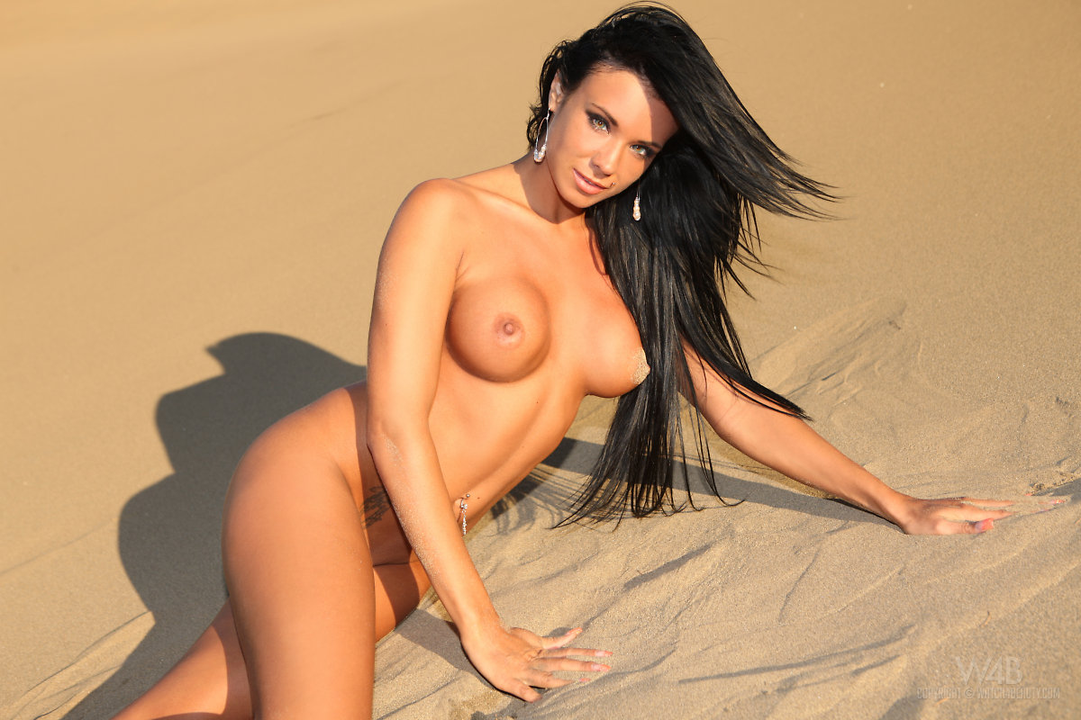 Ashley Bulgari, brunette, strip, bikini, beach, sand